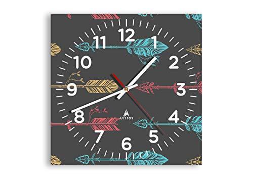 Wanduhr - Quadrat - Glasuhr - Breite: 30cm, Höhe: 30cm - Bildnummer 3874 - Schleichendes Uhrwerk - lautlos - zum Aufhängen bereit - Kunstdruck - C4AC30x30-3874