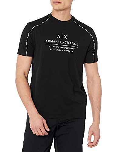 Armani Exchange Black Pullover Sweater Sudadera, Negro, L para Hombre