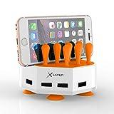 Xlayer Powerbank Family Charger Mini, extravagante Tischladestation für Smartphone und Tablet, Ladefläche mit Saugnapf für festen Halt auf dem Schreibtisch 4-Port USB, Weiß-Orange