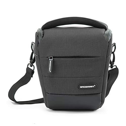 BAGSMART Compact Camera Shoulder Bag Holster Camera Case with Rain Cover for SLR DSLR, Lenses, Cables (Grey)