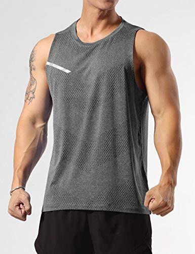 GYMAPE Herren-Sport-Tank-Top, ärmellos, Muskel-Lauf-Shirt, Training, schnelltrocknend, Fitnessstudio Gr. XXL, grau