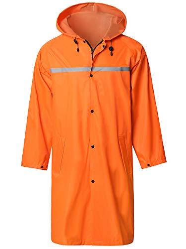 Mens Long Hooded Safety Rain Jacket Waterproof Emergency Raincoat Poncho Orange X-Large