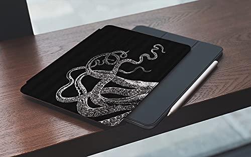 Funda para iPad 10.2 Pulgadas,2019/2020 Modelo, 7ª / 8ª generación,Tentáculos de pulpo blanco Negro Vintage Mar Calamar marino Kraken Náutico Costal Mo Smart Leather Stand Cover with Auto Wake/Sleep
