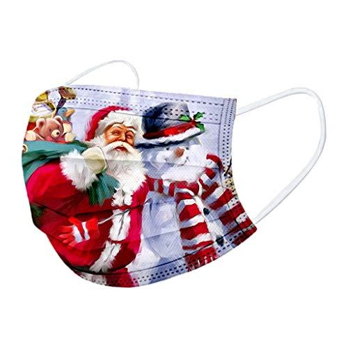 10 Piezas m_ascarillas d_esechables Navidad Adulto Dibujos,protección Industrial de 3 Capas ,Transpirable y Confortable,con Correas elásticas para los oídos