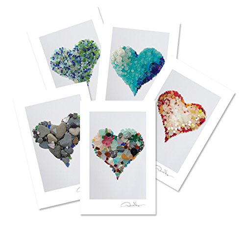 Sea Glass Hearts Postcard Variety Pack. Number 1 in the Series. 4x6, 2 of Each. Best for Birthday Cards, Thank You Notes & Invitations. Unique Christmas & Valentines Day Gifts