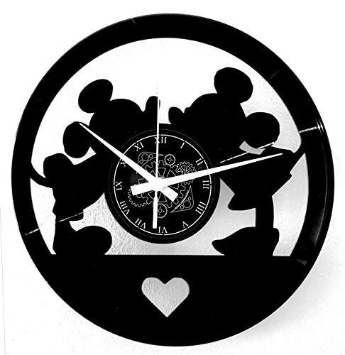 Instant Karma Clocks Orologio in Vinile da Parete Cartoon Amore Love Topi Topolini, Pensiero, Donna, Uomo