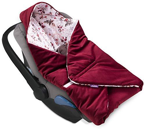 Jukki® VELVET Einschlagdecke mit Kapuze Babyschale für Kindersitz im Auto oder Kinderwagen, Baby Decke Kuscheldecke, Babydecke ideal für Reisen || 90cm x 90cm