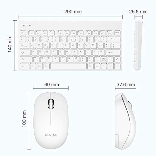OMOTON Tastatur Maus Set Kabellos, Deutsches Layout mit faltbaren Ständern, 2.4Ghz Wireless Tastatur und Maus Set mit USB-Empfänger für Windows XP / 7/8/10 / Vista, Weiß…