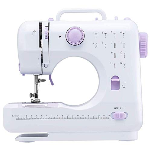 Household Portable Sewing Machine, Mini Electric Household Crafting Mending Sewing Machines Multi-Purpose 12 Built-in Stitches with Foot Pedal for Home Sewing, Beginners, Kids (Purple)