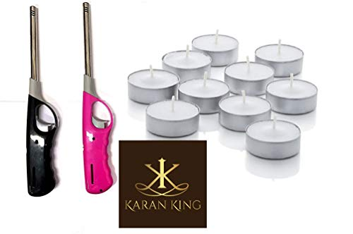 KING KARAN 20 PACK 4 HOUR BURNING TEALIGHT CANDLES WITH 2 BBQ LIGHTER