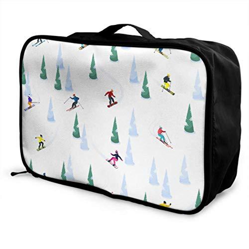 Custom Carry On Luggage Garment Bag Lightweight Interesting Winter Sports Ski Mountain Best Travel Duffel Bag Foldable Portable Storage Luggage Bag With Trolley Sleeve