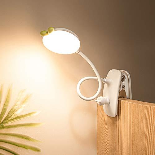QJUZO LED Lámpara de Lectura Pinza, 48 LEDs Lámpara de Mesa Infantil para Estudio, Táctil Regulable, Luz Lectura Recargable USB, Flexible Lampara Escritorio para Dormitorio Escritorio Infantil,Blanco