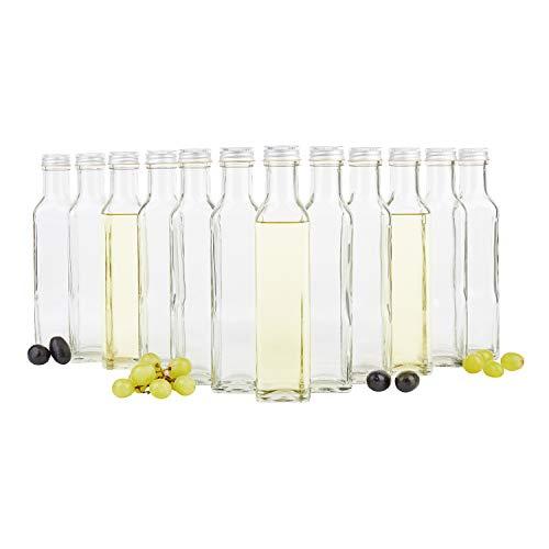 12er Set Vierkantflasche Marasca 250 ml + Silberne Schraubdeckel I edle Likörflasche I Schnapsflasche für Alkohol & Spirituosen I Flakon I Essig & Öl