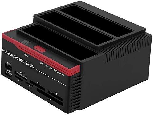 Tonysa USB 3.0 Externe Festplatten Dockingstation, Dual-Bay SATA & IDE HDD Dockingstation mit 3 Schächten für 2.5Zoll/3.5 Zoll SATAI/II/III Festplatten Offline Clone(EU-Stecker)
