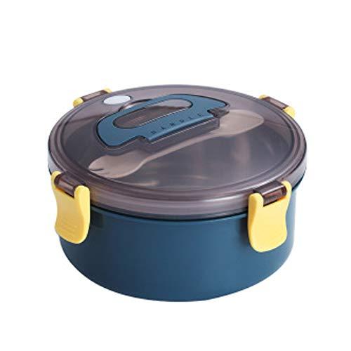 UMMU Caja de Almuerzo de Acero Inoxidable Redondo para Adultos Niños de Adultos Caja de Almuerzo aislada Bento Caja de bento Vajilla al Aire Libre Picnicware Agujero de a Royal Blue