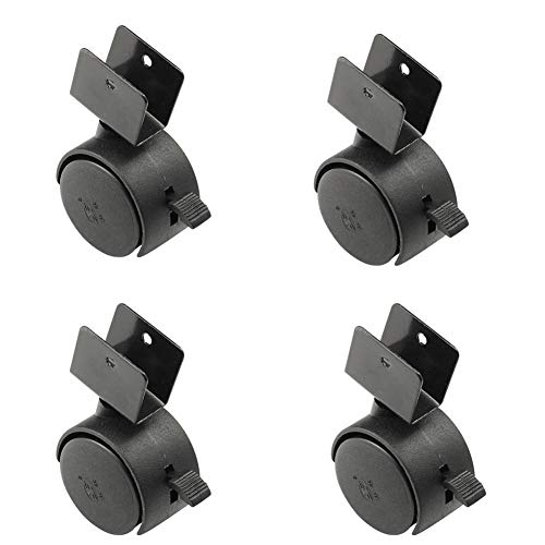 Baby Cot Casters With U Socket, Brakes Swivel Universal Castor Wheels 1.5 Inch 40Mm Diameter Load-Bearing 80Kg For Furniture Office Chair Scaffolding Crib, 4 X Casters
