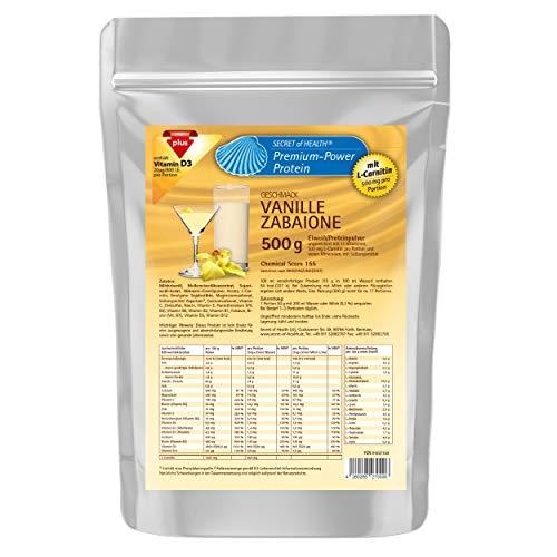 4-KOMPONENTEN Eiweiß mit 80% Proteinanteil | Chemical Score 155 | L-Carnitin & Vitaminen & Mineralstoffen | Mehrkomponenten Protein Eiweißpulver Proteinpulver Vanille Zabaione 500 g