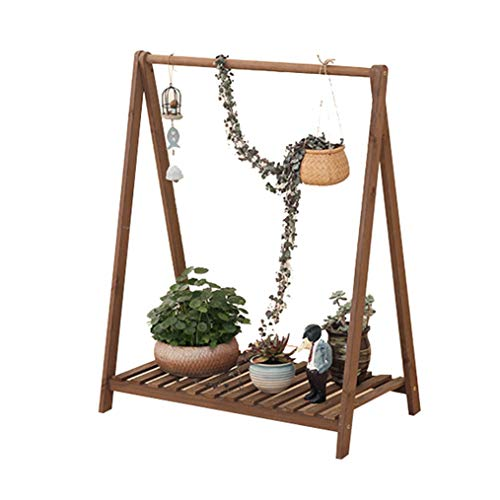 LM massief hout multifunctionele bloem standaard, op de vloer staande kan schommel Swing Pot Rack, woonkamer slaapkamer Bay raam balkon tuin planten Display Stand - bruin