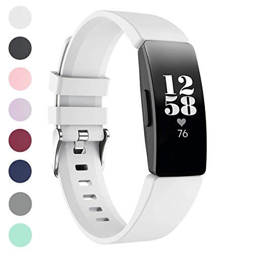 GEMONY Kompatibel mit Fitbit Inspire und Fitbit Inspire HR Gurt Prämie Fitness Tracker Einstellbar TPU Weich Silikon Sport Armband (Weiß-WBFB206S)
