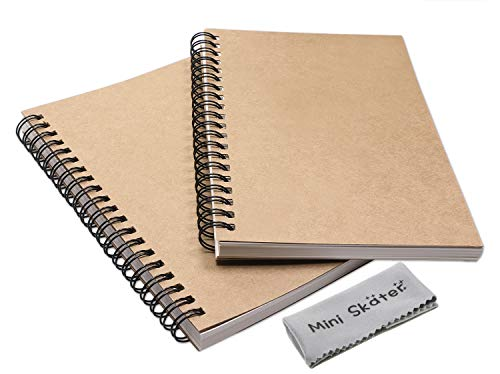 Mini Skater 2 Pack Wirebound Notebook Blank Travel Journal Sketch Memo Notebooks for Drawing School Supplies 100 Pages 50 Sheets (7 x 4.7 inch,Brown(Blank))