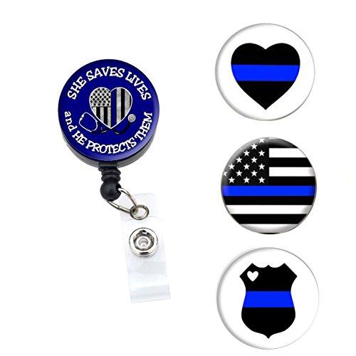 Sizzle City Brand - Badge Holder, Badge Reel, Badge Clip, Interchangeable Retractable Badge Reel, Magnet Nurse ID Badge Holder (Alligator/Swivel Clip, Blue Line Interchangeable Set)