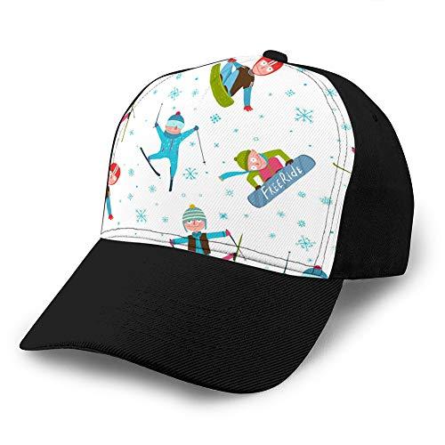 Baseball Cap Adjustable Athletic Custom Trendy Hat for Men and Women Skier Snowboarder Winter Sport Cartoon Seamless Custom Denim Baseball Cap