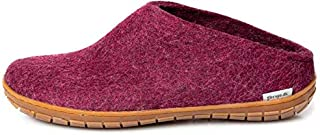 Glerups Unisex BR-07 - Felt Slippers with Rubber Sole 50 M Red