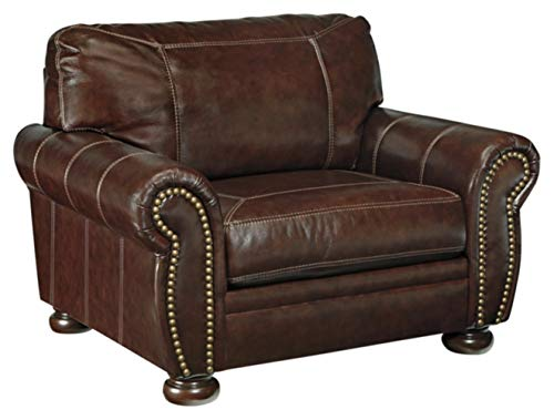 Signature Design by Ashley - Banner Traditional Oversized Leather Chair w/ Nailhead Accents, Coffee Brown