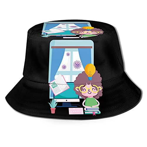 Education Online Little Boy in Room with Computer Books Plant Coro-nav-irus Pandemic Unisex Collapsible Bucket Hat Beach Fisherman Hats Black