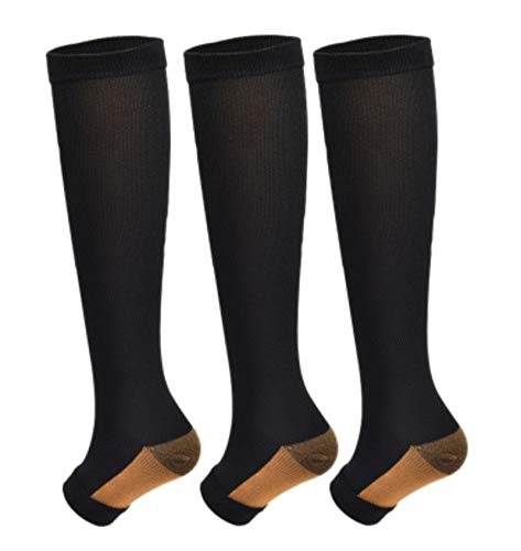 3Pairs Open Toe Toeless Compression Socks(15-20mmHg) for Men and Women Support Stocking (Black, L/XL)