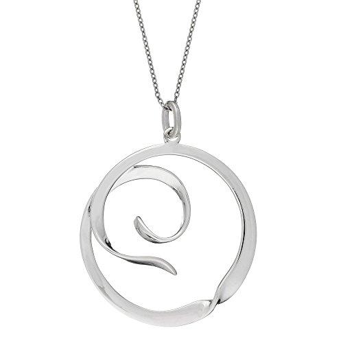 Silverly Frauen .925 Sterling Silber Runde Zeitgenössischer Twist Kreis Hängende Halskette, 46cm