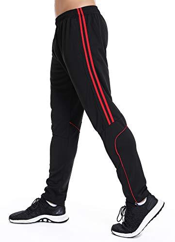 STARBILD Pantalones para Hombre Entrenamiento Fitness Deportes Jogger con Bolsillos Coincidencia de Colores Casuales Pantalones Deportivos Negro y Rojo S