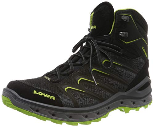 Lowa Herren AEROX GTX MID Trekking-& Wanderstiefel, Schwarz (Nero/Limone 9903), 44 EU