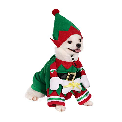 Filhome Dog Cat Christmas Elf Costume with Hat, Pet Christmas Winter Fleece Coat Clothes Puppy Xmas Outfit Apparel