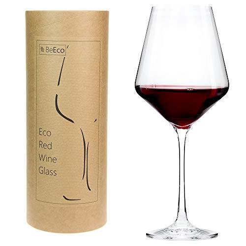 BeEco Bicchiere da Vino Rosso 480ml | Calici Vino Rosso grandi con gambo lungo | Prodotto ecologico in un Tubo di Cartone | Set di 1 Bicchieri | Riciclabile al 100%