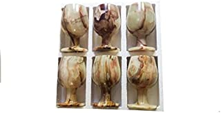 Marble Onyx Wine Glasses Cup Stone Goblet Set of 6 Quality Product