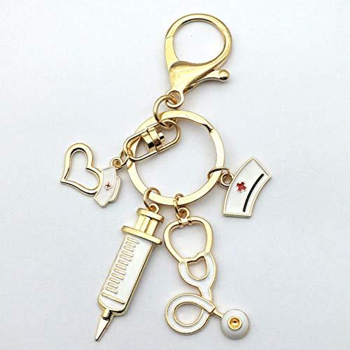 N/ A witte verpleegster pet geneeskunde Big Stethoscoop grote spuit verpleegster liefde Rose Gold Hummer gesp sleutelhanger charme sieraden geschenk