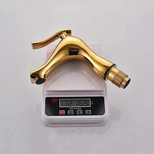 Grifo para Lavabo de baño Latón Manija única de un Solo Orificio Grifo Mezclador de Lavabo de Agua fría y Caliente Tocador Grifo para Lavabo de Lavabo Grifo Mezclador de Lavabo monobloque-Oro per