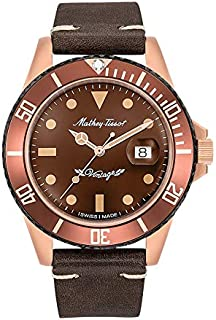 Mathey Tissot H901BZM Mens Automatic Watch, Analog Display and Leather Strap, Brown