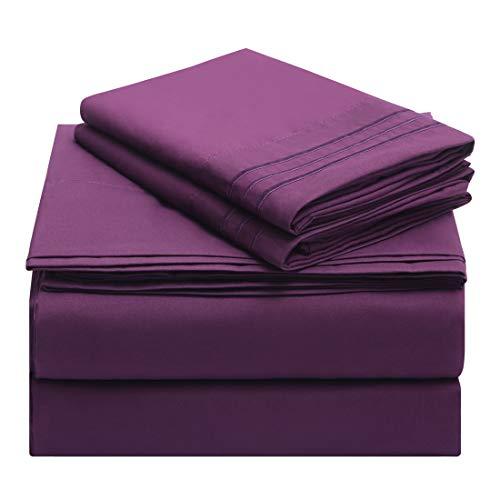 Starcast Bed Sheet Set Full Size Soft Microfiber 1800 Thread Count Bedding Sheet Set Deep Pocket, Wrinkle,Fade Resistant, Breathable, Hotel Luxury Cooling Sheets Set-4 Piece (Purple
