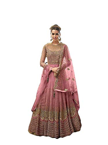 Henith Collection Indian/Pakistani Party Wear Wedding Wear Anarkali Gown Anarkali Suit for Womens (Pink  XXL)