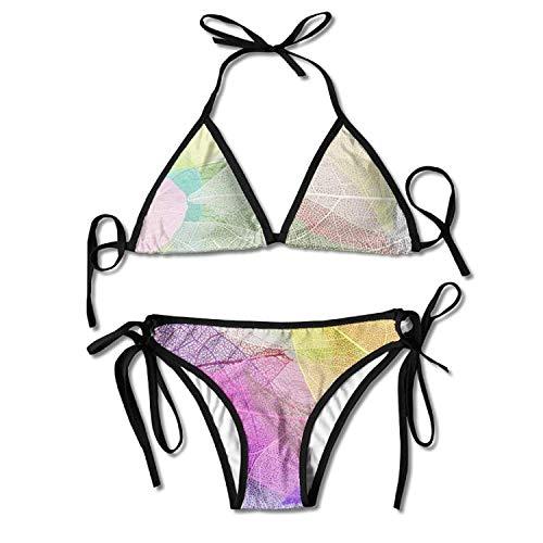 Macro Leaves Bikini Women's Summer Swimwear Triangle Top Bikinis Swimsuit Sexy 2-Piece Set