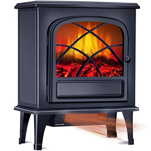 Electric Space Heater - Infrared Fireplace Heater w/1500W Strong Power, Large Space Heater w/3S Fast Heating System, Portable Fireplace Stove for Office Home Indoor Use w/Tip-Over& Overheat Protection Heater Infrared Space