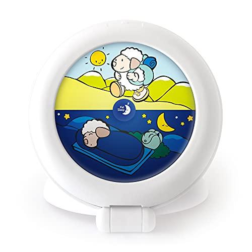 Réveil Éducatif Nomade pour Enfants - Jour/Nuit - Lumineux - Mixte : Fille et Garcon - Globetrotter - Blanc - Pabobo x Kid Sleep