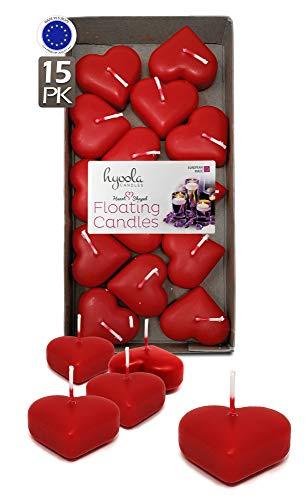 Hyoola Premium Schwimmkerzen in Herzform, 4,6 cm, Rot, 2 Stunden, 15 Stück, Europa hergestellt