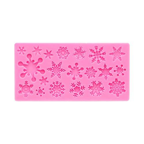 Stampo per sapone natalizio, stampo in silicone per fiocchi di neve natalizi, utilizzare per decorazioni per cioccolato, caramelle, torte o muffin, gelatine, rosa