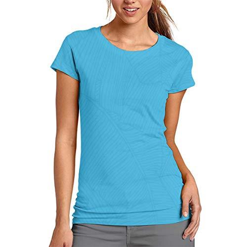 Blue Banana Leaf Vein - Camiseta de Manga Corta para Mujer, Cuello Redondo, cómoda, poliéster, Blanco, Large
