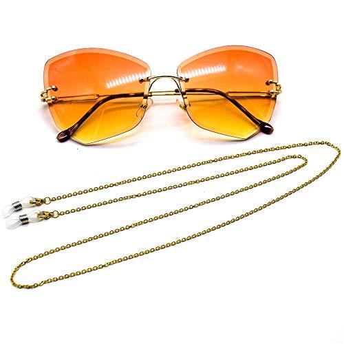 Yhjkvl-AC Cadena de gafas de acero inoxidable chapado al vacío, cadena de gafas de sol, cadena de gafas de sol, cadena en forma de O (color: dorado)