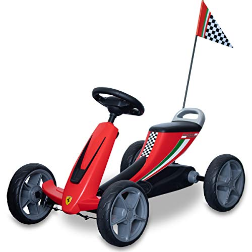 フェラーリ公認 乗用玩具 4輪 ペダル式 ゴーカート 背もたれ付 滑りにくいペダル ノーパンクタイヤ
