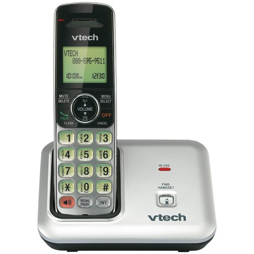 VTech CS6419 DECT 6.0 Cordless Phone with Caller ID, Expandable up to 5 Handsets, Wall-Mountable, Silver/Black